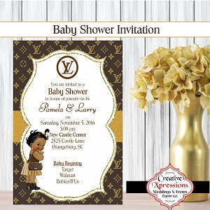 Baby Girl LV Shower Invitation