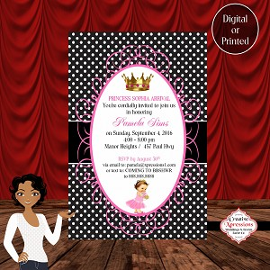 Black Polka Dots with Pink Frame Baby Shower Invitation