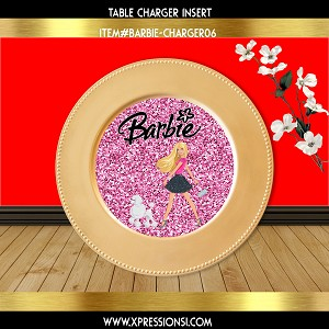 Pink Glitter Barbie Charger Insert