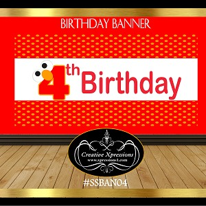 Red and Orange Birthday Banner